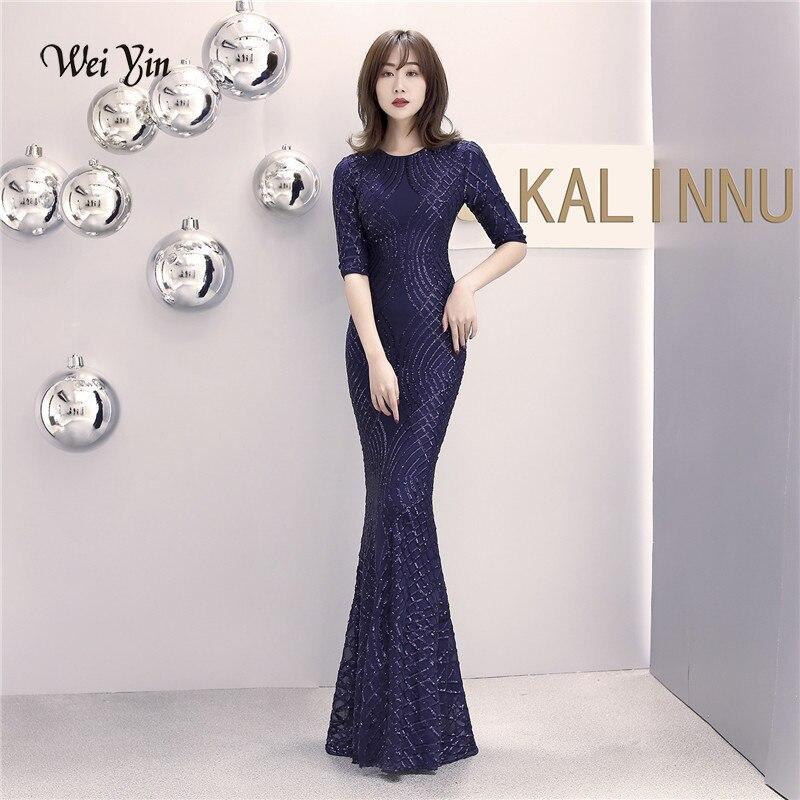 Weiyin 2019 nouveau femmes élégant sirène bleu marine paillettes robe demi manches robe de soirée fête longue robe de bal WY1466
