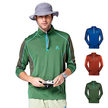 2015 New Tectop Men'sTurn-over Collar Long Sleeve T-shirt Wicking Quick Dry Outdoors Breathable Active T-shirts