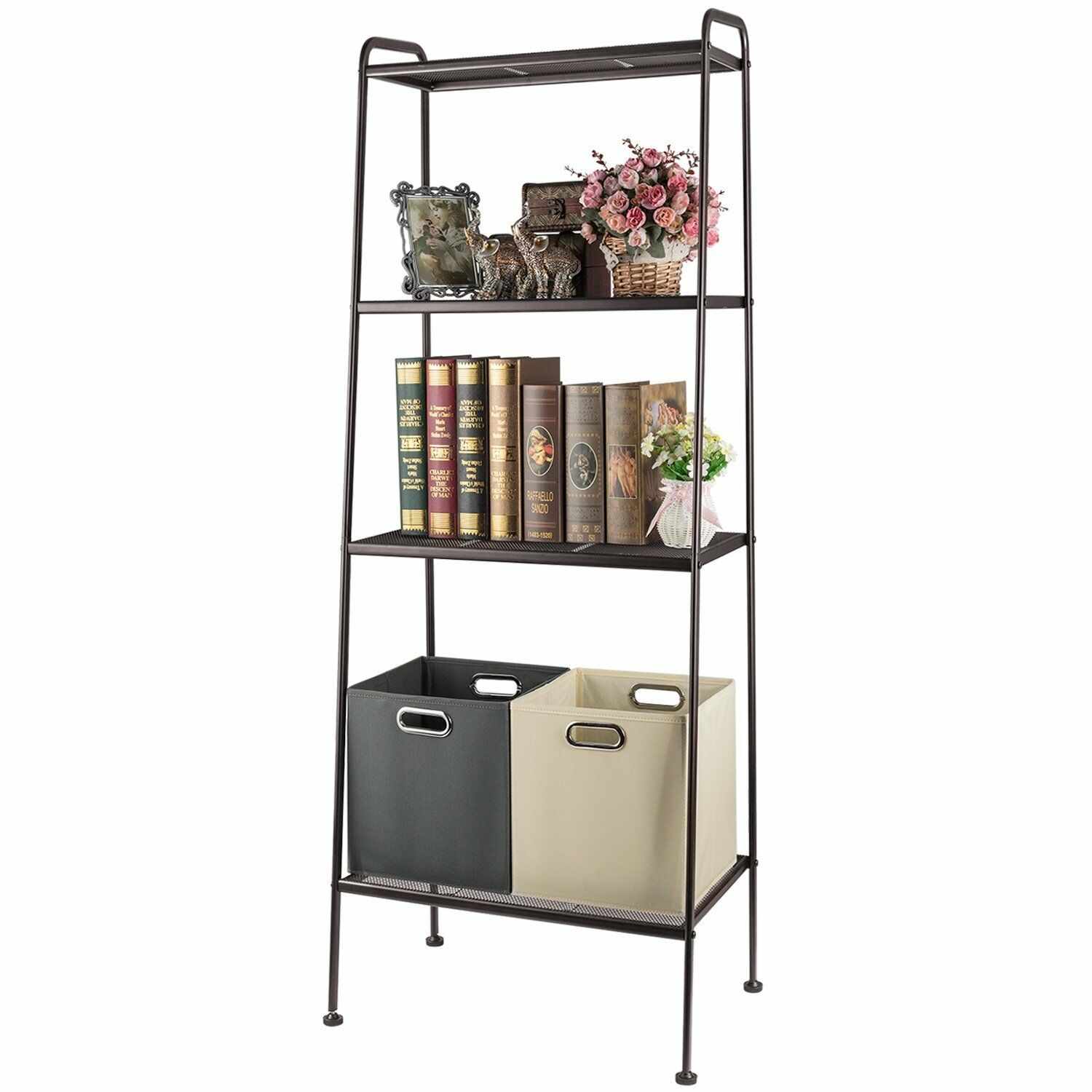 Us 29 99 4 Tier Durable Bookcase Bookshelf Leaning Wall Shelf Shelving Ladder Storage Only Ship To Us In Storage Holders Racks From Home Garden