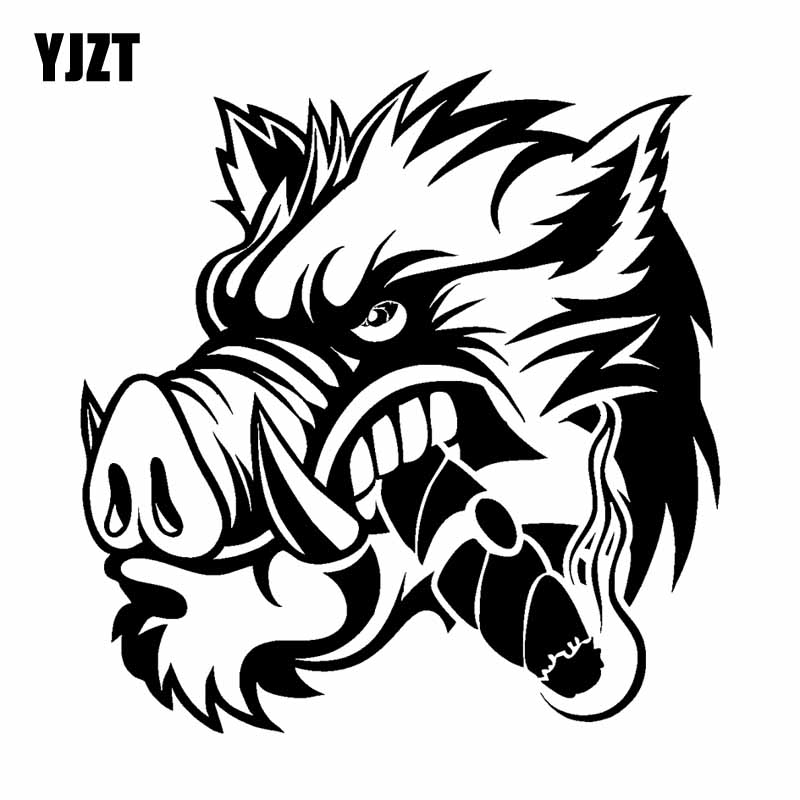 YJZT 17.2CM*17.8CM A Ferocious Wild Boar Car Sticker Vinyl Decal Black Silver C13-000659