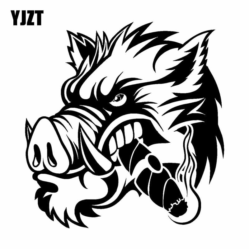 YJZT 17.2CM*17.8CM A Ferocious Wild Boar Car Sticker Vinyl Decal Black Silver C13-000659