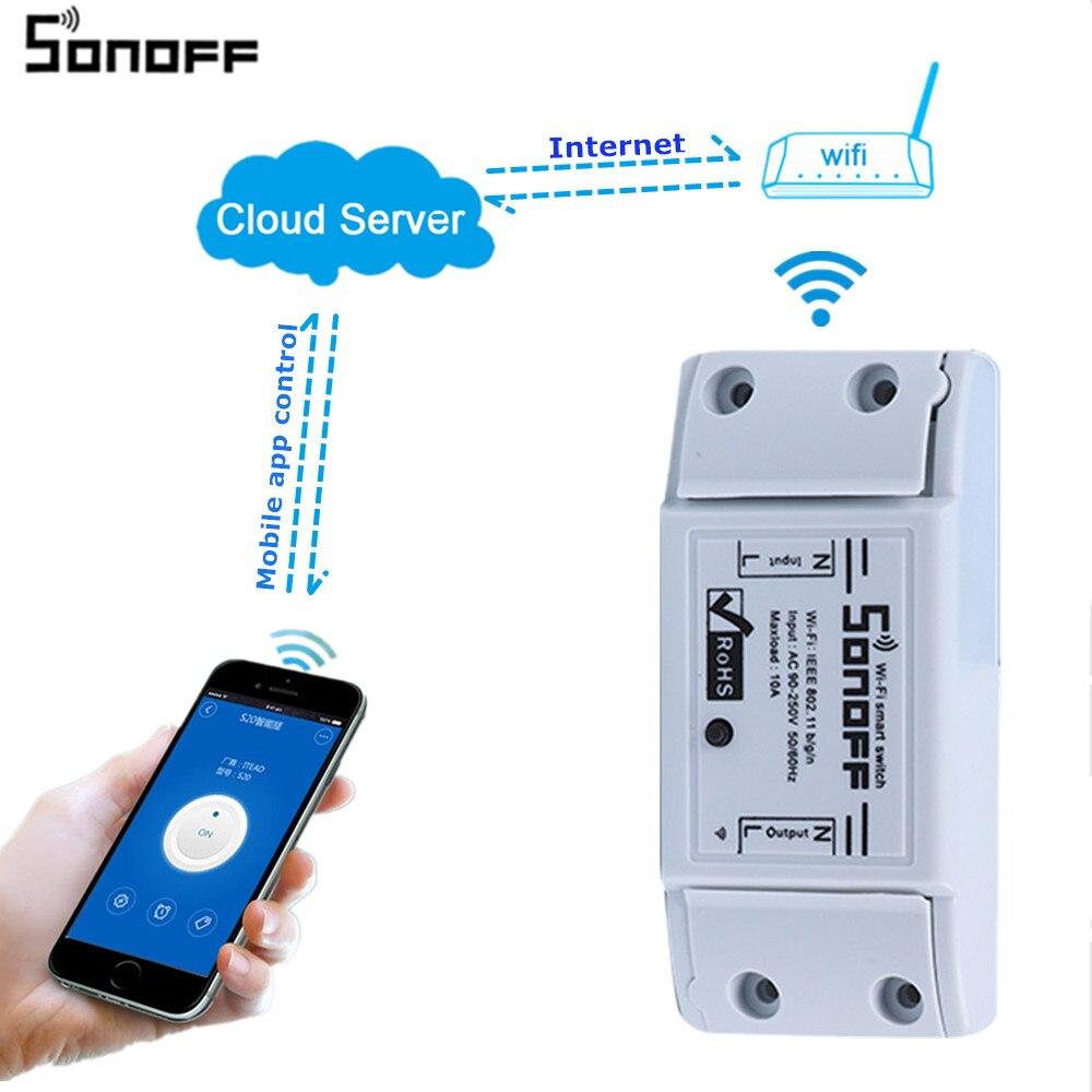 Sonoff Wifi Commutateur Relais Module AC 90 V-250 V 220 V Sans Fil Minuterie Télécommande Pour Smart Domotique Pour IOS Android