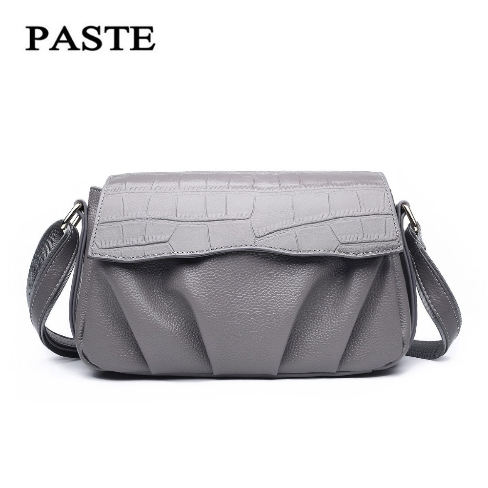 Paste Leather handbags packet new simple wild casual crocodile pattern layer leather shoulder bag Messenger bag female P0550 paste new leather handbags first layer of leather shoulder bag messenger bag handbag white casual bag female shoulder bag