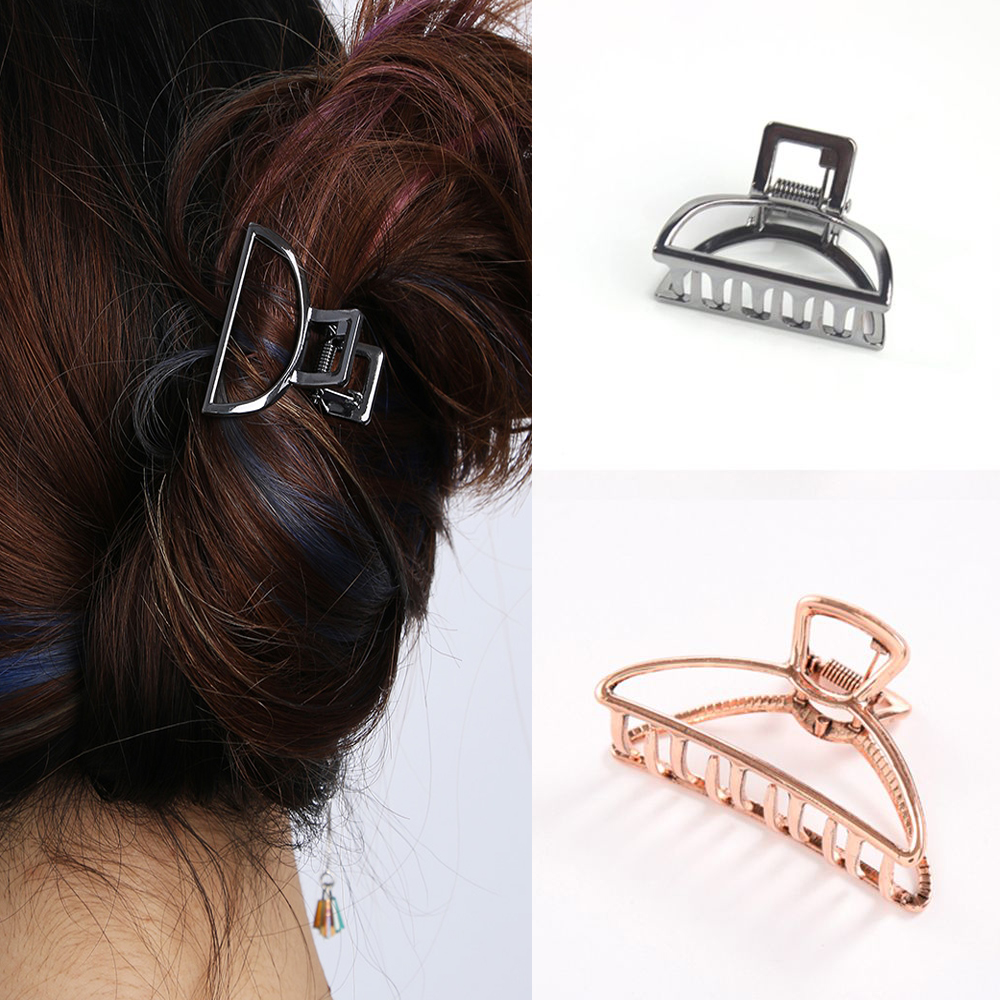 Women Geometric Hair Claw Solid Color Hair Crab Retro Moon Shape Pearl Hair Clips