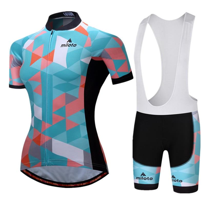 MILOTO font b Women s b font Cycling Jersey Sets Short Sleeve Jersey Pro Team Cycling