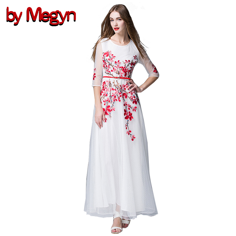by Megyn plus size women maxi long dress elegant white mesh flower embroidered three quarter sleeve with sashes party dresses