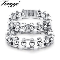 TENGYI Punk Style Men S Jewelry Stainless Steel Bracelet High Quality Handmade Bracelet Gold Silver Color