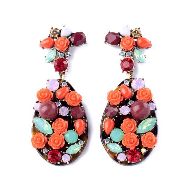 Dream Catcher Earrings Leopard Resin Made Flower Blooming Pendant Long For Elegant Retro Women Party