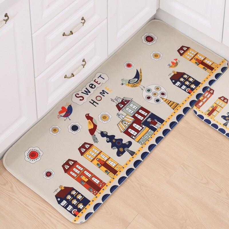 Tapis maison beige oiseau maison cuisine chambre tapis antidérapant tapis de sol 50*80 cm tapis X'mas décoration 50*120 cm tapis de bande dessinée antidérapant