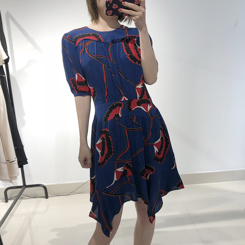 Femme robe printemps irrégulière balançoire fleur robe