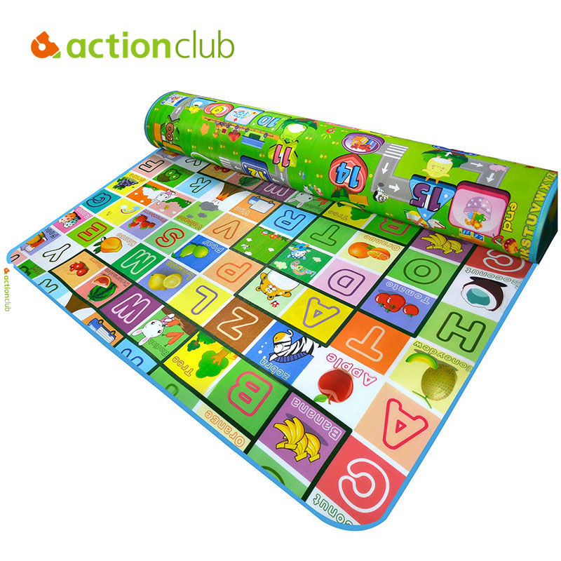 ФОТО  Actionclub Baby Play Mat 200*180cm Baby Game Activity Mat Double Side Educational Crawling Rugs Children Gym Foam Carpet Mat