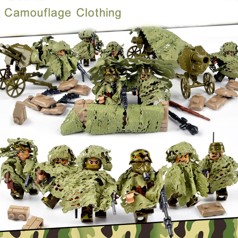 WW2 Military Mini Camouflage Clothing Figure With Weapon Model Building Blocks Toy New Design Soldier Brick DIY Toy For Boy Gift new very cool action toy figures 6 pcs orcs with weapon ancient military solider model set diy assembly half orc model puppet