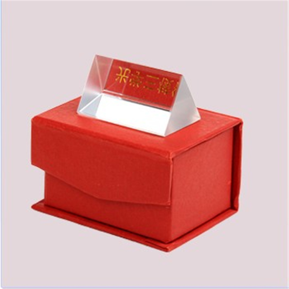 5CM Optical Glass Triple Triangular Prism Physics Teaching Light Spectrum Gift Box