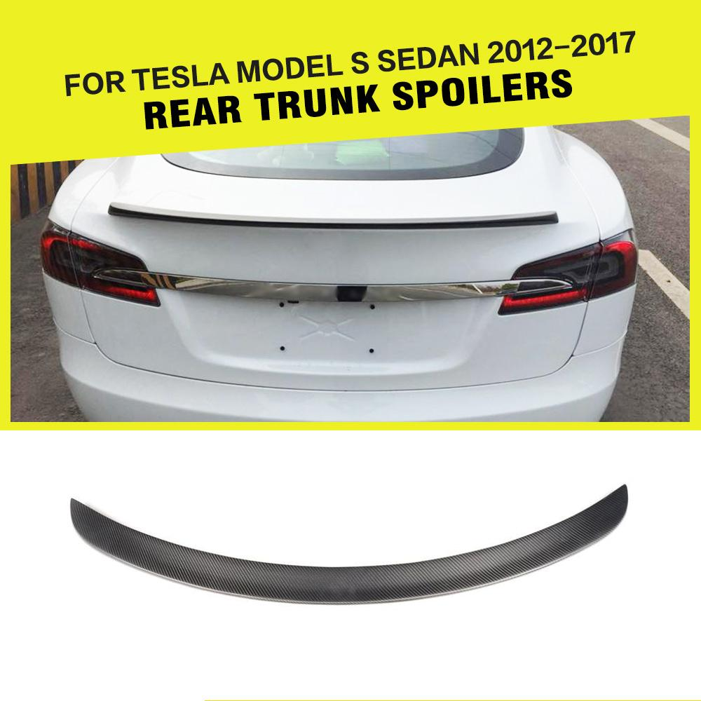купить Carbon Fiber Matte Black Rear Trunk Boot Spoiler Rear Wing Lip for Tesla S Base Sedan 4-Door 2012-2017 Car Styling по цене 6285.01 рублей