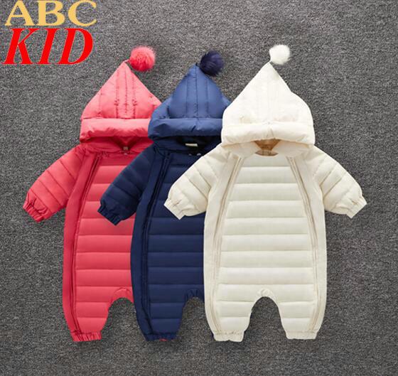 Macacão de bebê roupas de bebê recém-nascido pena de down inverno quente para baixo macacão de bebê snowsuit KC028