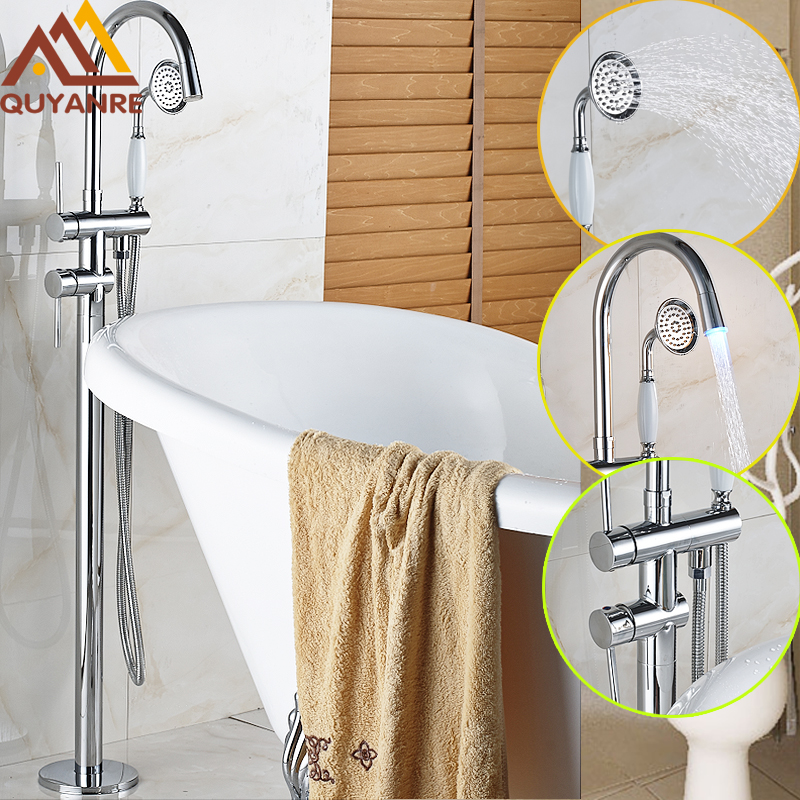 Bright Chrome Solid Brass Floor Standing LED Faucets Dual Handles Waterfall Spout With Handshower Bathroom Tub Shower Mixer Tap