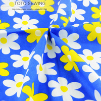 1 Meter X 145 Cm Wide Blue Flower Printed Cotton Fabric Kids Fashion Design Garment Sewing