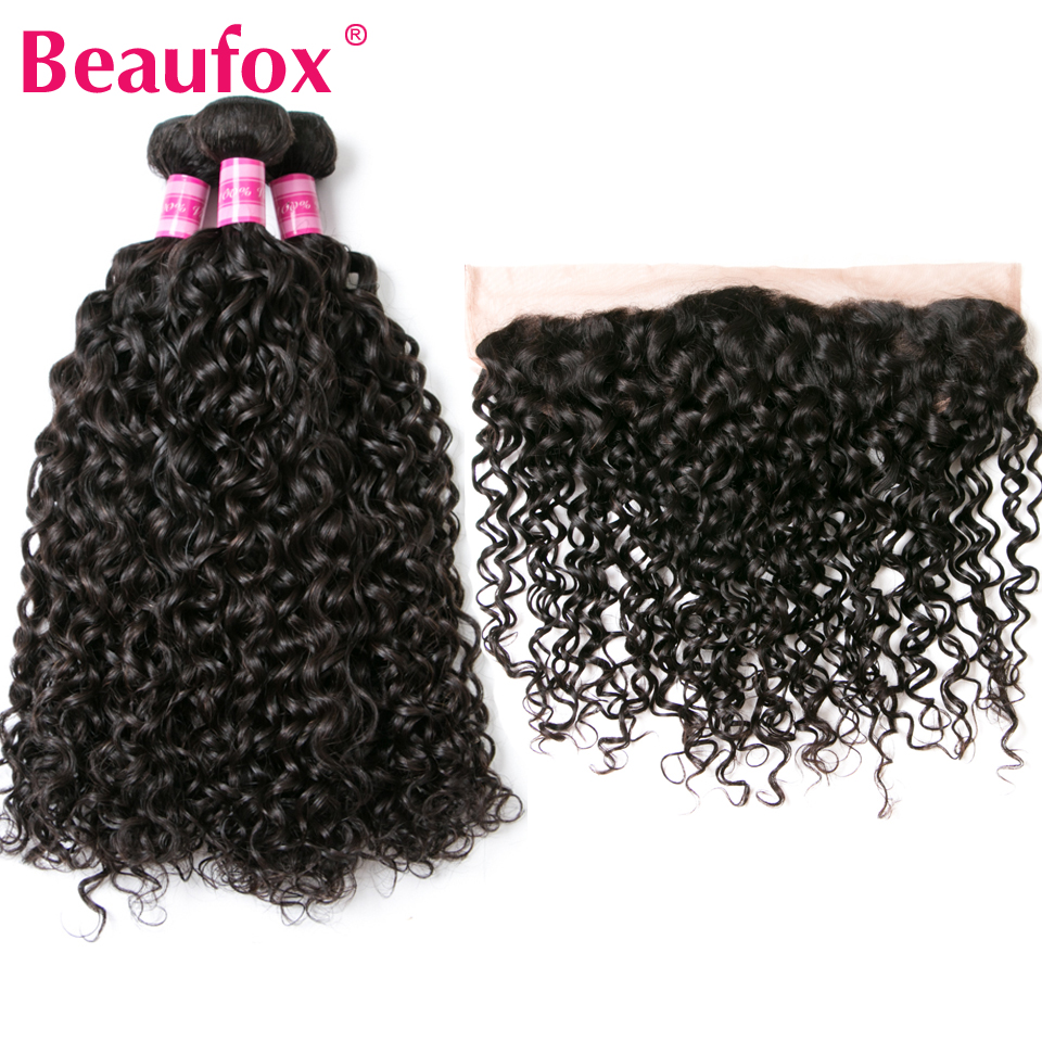 Beaufox Brazilian Water Wave Bundles With Frontal Closure 3pcs Human Hair Bundles With Closure Remy Lace Frontal With Bundles