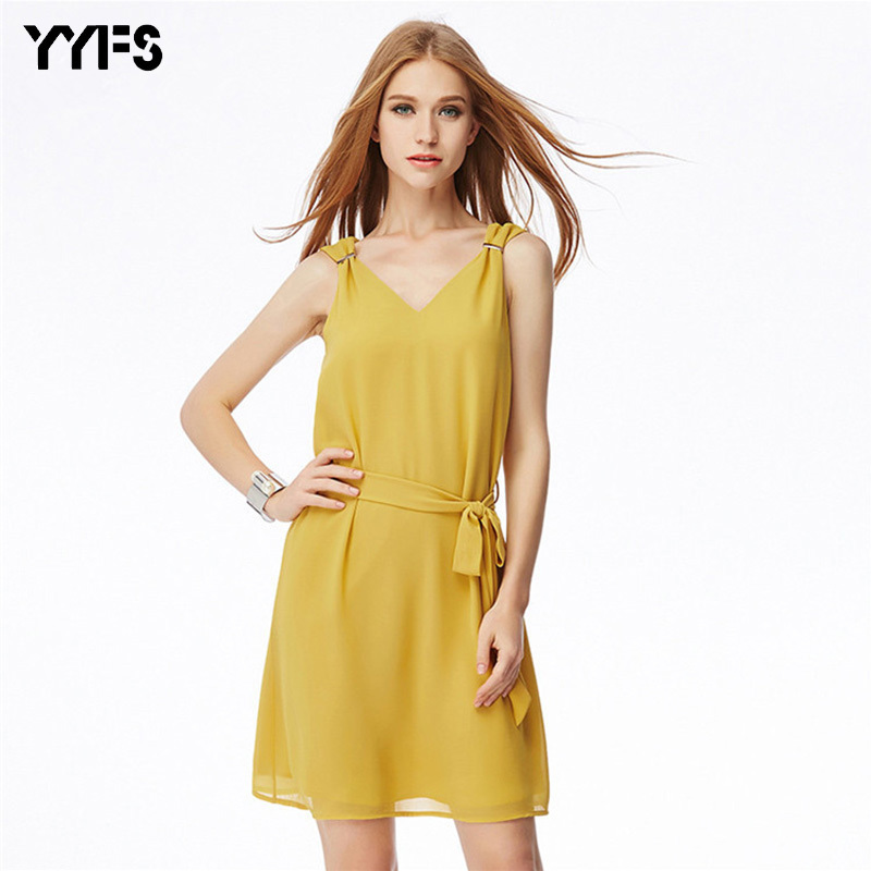 YYFS 2017 new fashion frauen Chiffon kleid Sommer Straight Through ...