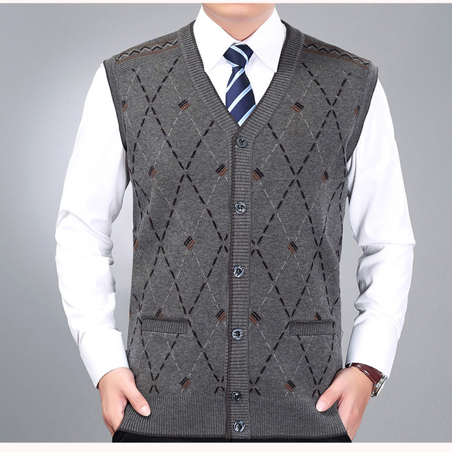 New Men's Wool Knit Vest V Neck Fashion Casual Buttons Down Basic Cardigan Sleeveless Sweater for Autumn Winter Tops G2803