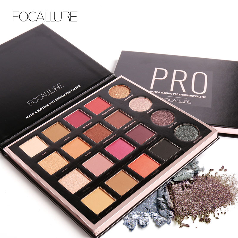 FOCALLURE New 20 Colors Matte&Electric Pro Eyeshadow Glitter Eyeshadow Palette Makeup Eyeshadow Palette Cosmetics