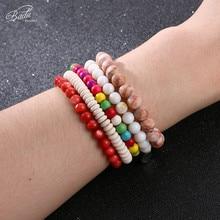 Badu Natural Stone Beads Bracelet for Women Vintage Opal 15 Colors Cracked Charms Bangles Wholesale