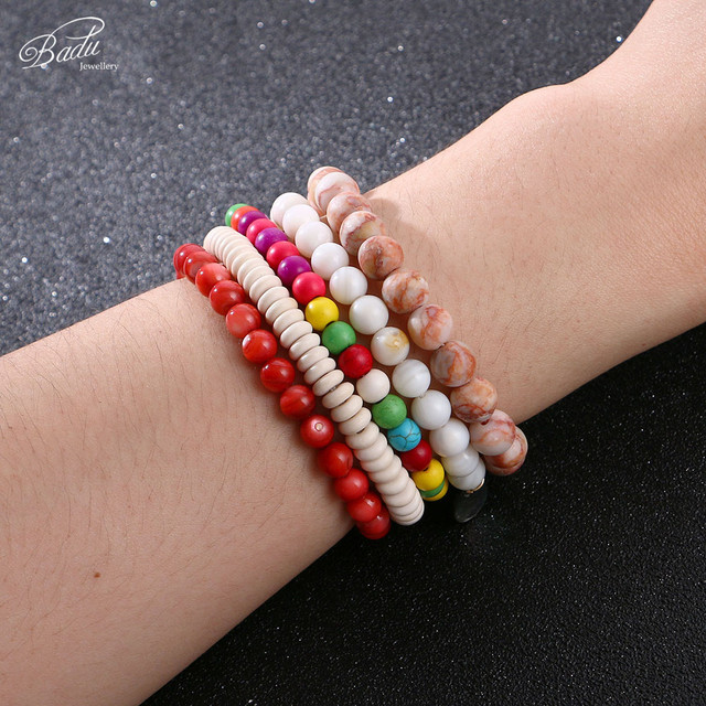 Badu Natural Stone Beads Bracelet for Women Vintage Opal Stone 15 Colors Cracked Stone Charms Bracelet Bangles Wholesale