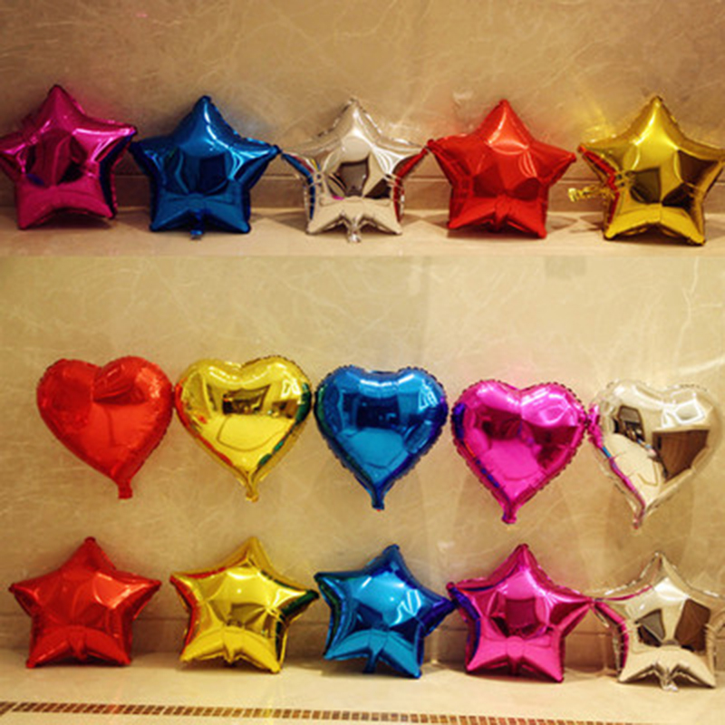 Wholesale 100 pcs/lot 5 inch Heart Shape and Star Aluminum <font><b>Foil</b></font> Balloon Wedding Decoration Party Supplies image
