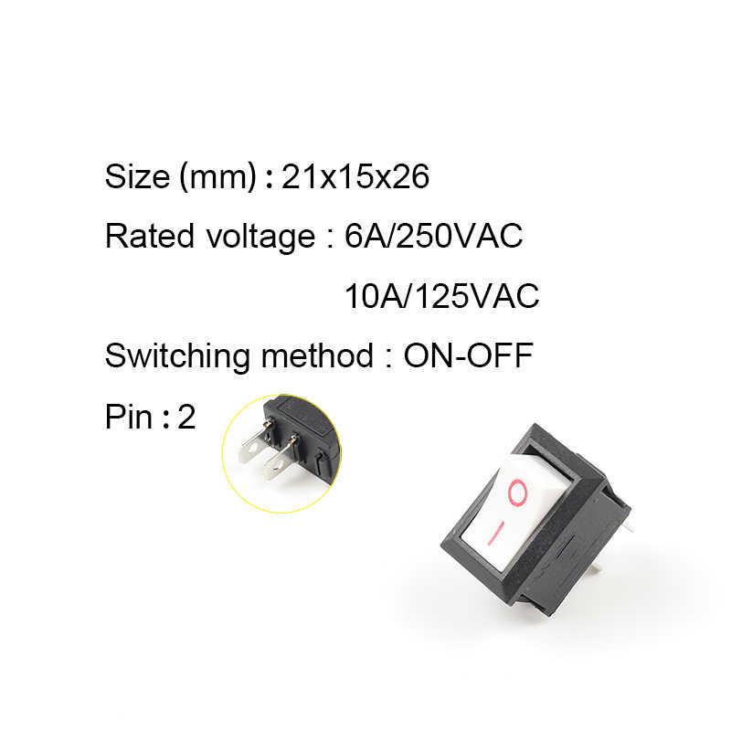 5 unids/lote KCD1 21X15mm interruptor basculante ON-OFF 2 posiciones interruptor de alimentación 2Pin 6A/250VAC 10A/125VAC rojo azul verde amarillo negro blanco