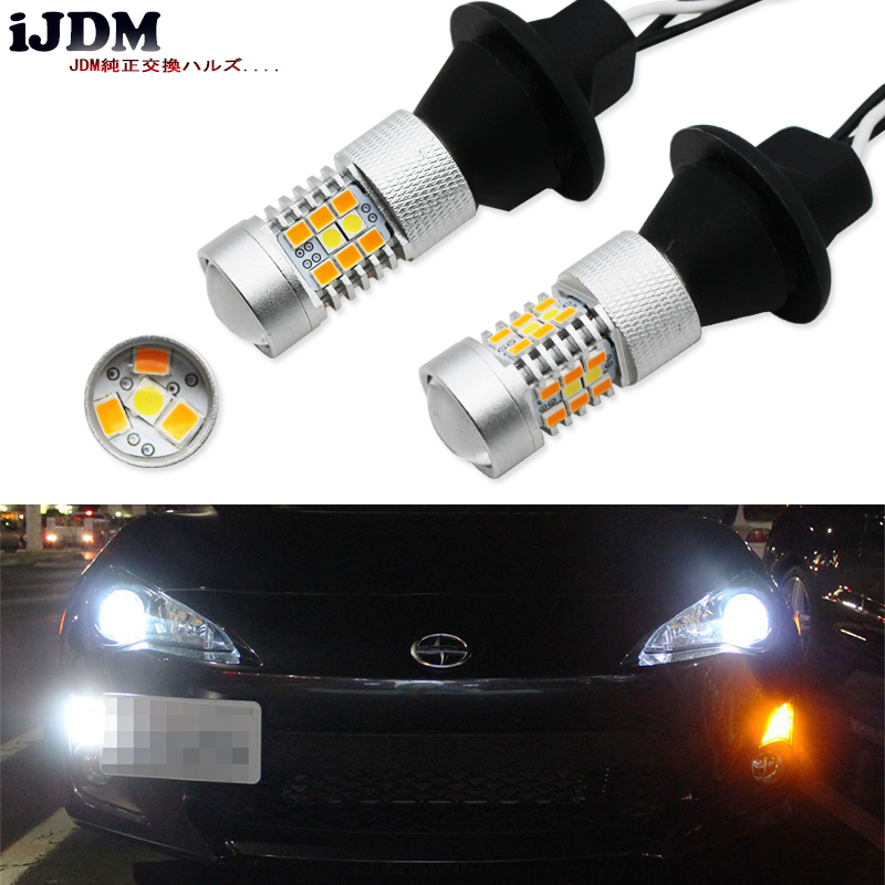 iJDM No Hyper Flash BAU15S S25 7507 LED White/Amber Switchback LED Bulbs For Daytime Running Lights/Turn Signals,12V CANBUS 2pcs no resistor required amber yellow cob led bau15s 7507 py21w 1156py led bulbs for front turn signal lights no hyper flash