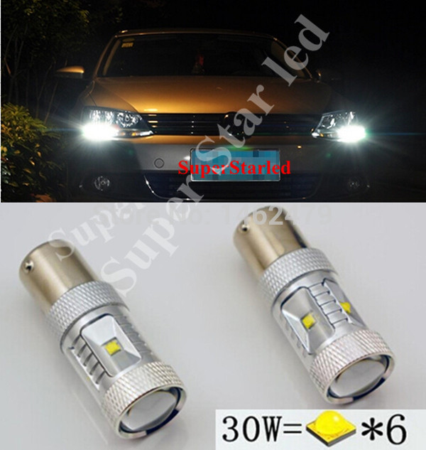 2 x Canbus 1156  XBD Chips  12V Car LED Bulbs Daytime Running Lights For VW Volkswagen Jetta  MK6 Scirocco Sharan  SEAT