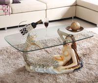 Mermaid furniture round tea table.. Toughened glass tea table personality. The tea table.