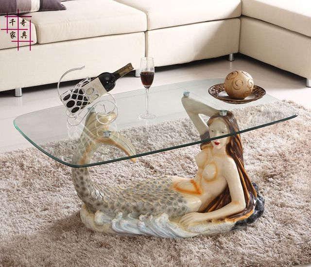 Mermaid furniture round tea table toughened glass tea for Mermaid coffee table