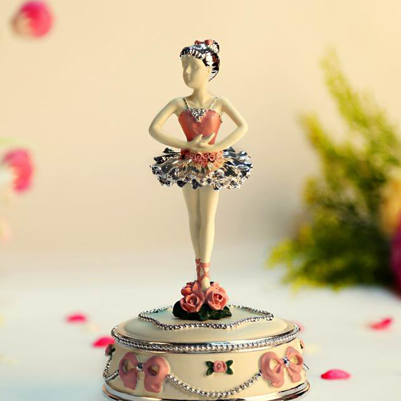 Refinement Rotation BALLERINA GIRL Music Box Cute Swan Lake Personality Creative Resin Artware Gift High Quality Collection L910 ins hot swan soft toy cute ballerina moon cushion pink home sofa decoration pillow baby appease music doll kidstoy gift for girl