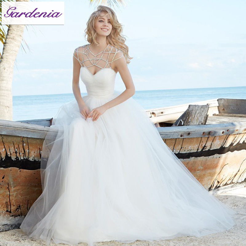 Unique Neckline Design 2015 New Wedding Dress A Line