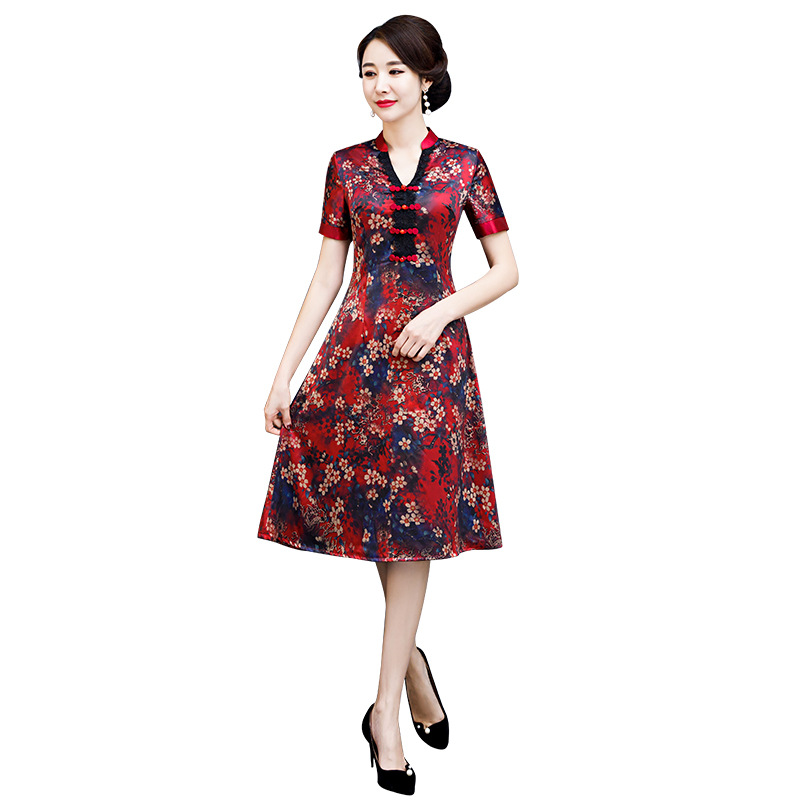 Été chinois femmes élégant court dame Mandarin col Qipao fait main bouton Cheongsam Sexy robe vêtements taille M-XXXXL
