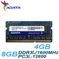 Бренд ADATA ноутбук озу DDR3L DDR3 1600 мГц PC3-12800 4 ГБ 8 ГБ ноутбук памяти 204Pin SO-DIMM совместим с 1333 мГц