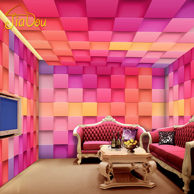 Custom Mural Wallpaper 3D Stereoscopic Colorful Plaid Wallpaper Murals Living Room Bar Hotel KTV Clothing Store Wall Painting custom any size mural wallpaper 3d stereoscopic universe star living room tv bar ktv backdrop bedroom 3d photo wallpaper roll