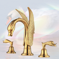Antique Kitchen Faucet Polished Golden Swan Bathroom Faucet Dual Handles Three Hole Sink Mixer Taps Hot