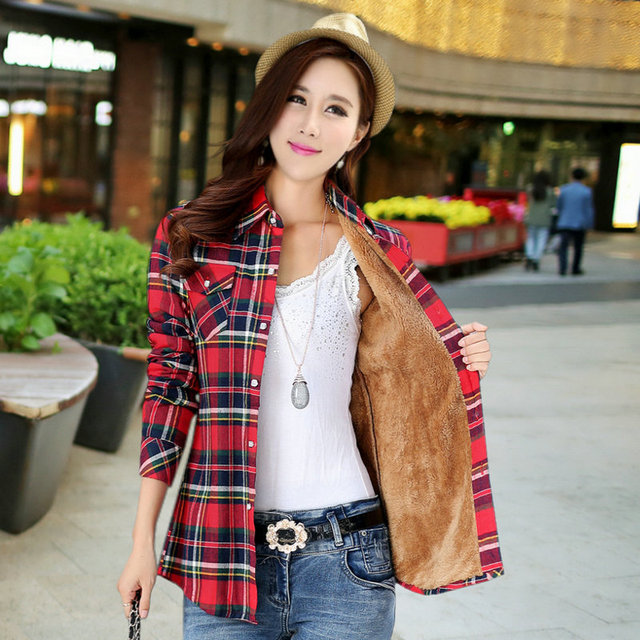 Lossky 2016 New Women's Winter Fashion Casual Warm Wool Shirts Blouse / Women's Long Sleeve Plus Velvet Plaid Blouse