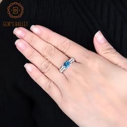 Женское кольцо с голубым топазом, классическое кольцо из 100% стерлингового серебра 925 пробы с овальным натуральным топазом, 1,57ct, ювелирные ук...