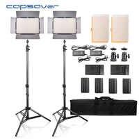 Capahorrador TL-600S 2 uds LED Luz de vídeo de estudio fotografía iluminación led Panel lámpara con trípode 5500K CRI 95 NP-F550 batería