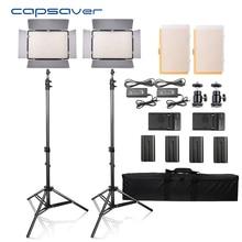 Capsaver TL 600S 2 pçs led luz de vídeo estúdio foto fotografia iluminação led painel lâmpada com tripé 5500 k cri 95 NP F550 bateria
