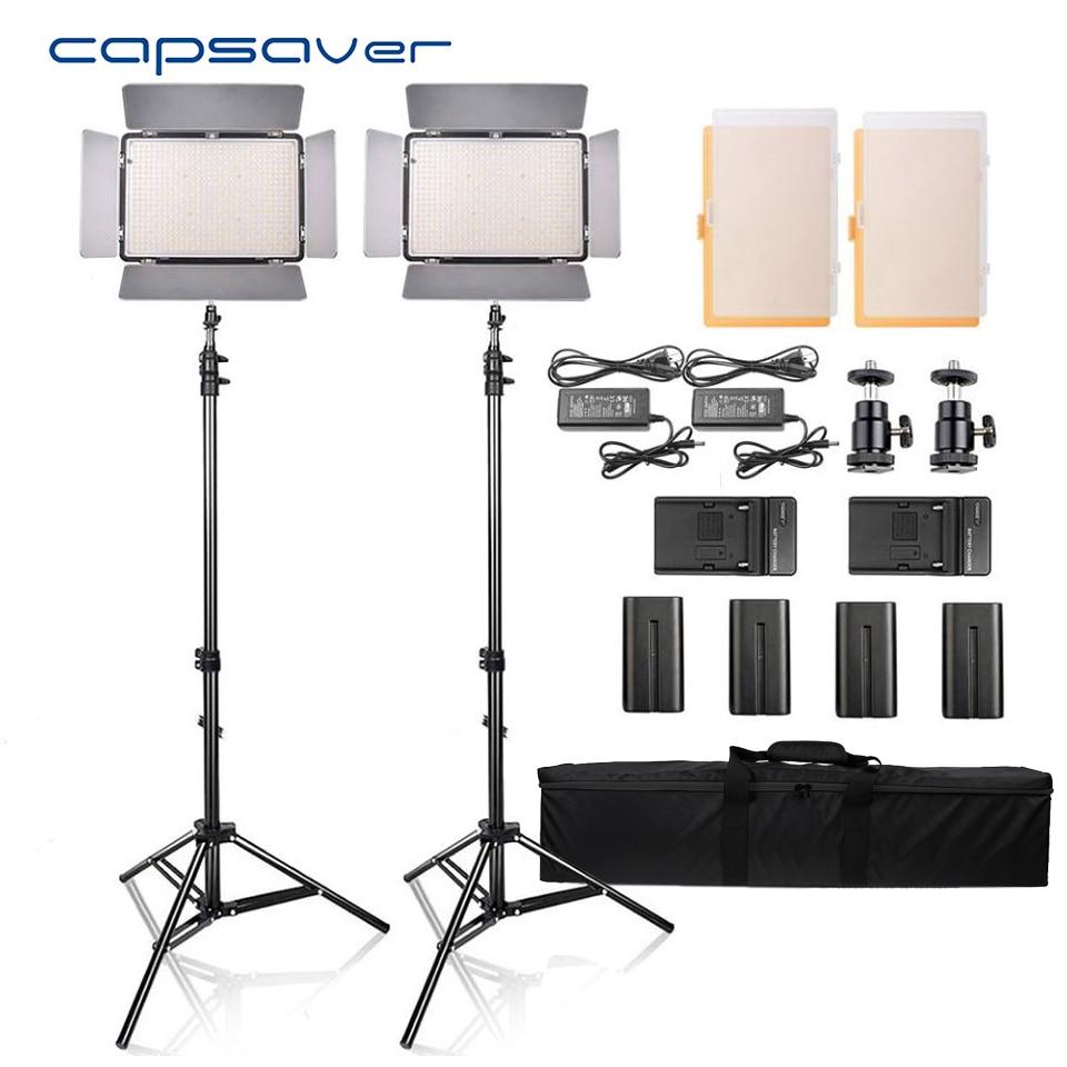 Capsaver TL-600S 2 pcs HA CONDOTTO LA Luce Video Studio Fotografico Fotografia di Illuminazione A led del Pannello Della Lampada con il Treppiedi 5500 K CRI 95 NP-F550 Batteria