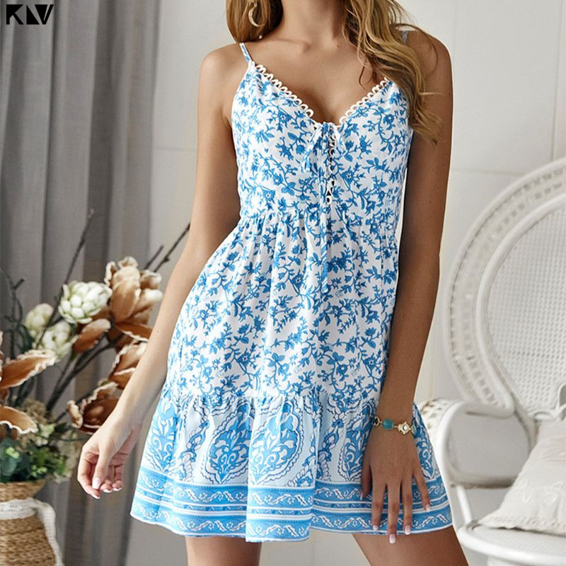 KLV Summer Sleeveless Sexy V-Neck Bohemian Mini Swing Dress Vintage Colored Floral Printed Criss Cross Lace Up Beach Sundress