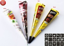 4X Natural Henna Temporary Tattoo With 15PCS Stencils 6X6CM- Body Color & Body Art Kit
