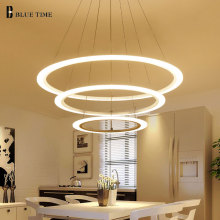 цена New Creative 4 Rings Modern LED Chandelier For Kitchen Living Room suspension hanging ceiling lamp Home Lighting 40 60 80 100cm