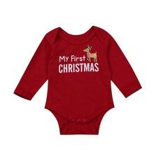christmas cute baby boys girl romper infant newborn baby letter deer Romper Cotton baby Jumpsuit 1st xmas baby boy girl clothing
