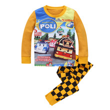 2016 Spring Autumn long sleeve Kids cotton Pajamas clothing sets Boys Girls cartoon baby sleepwear sets