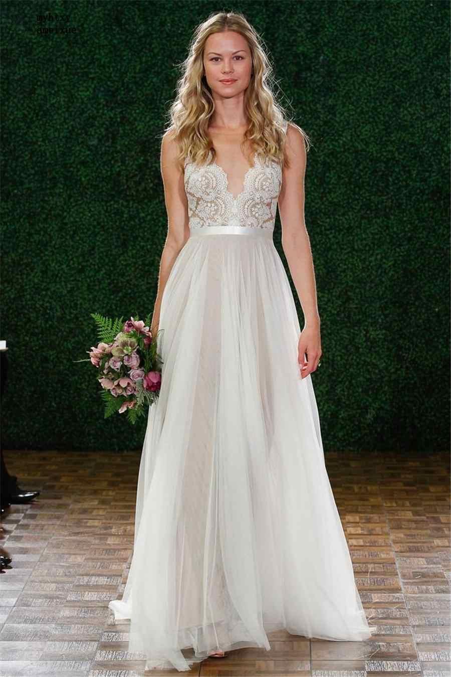 V-צוואר תחרה & טול ארוך חוף שרוולים הכלה שמלת אשליה חזרה כפתורים זול בתוספת גודל חתונה שמלת Vestido דה Noiva קו